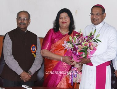 Mangaluru New Bishop Dr. Peter Paul Saldanha was honoured by by Madam Grace Pinto