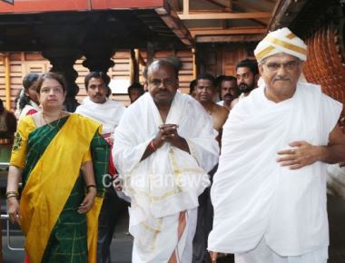 Chief minister-designate H D Kumaraswamy  with his Wife Anita Kumaraswami visited Dharmasthal.