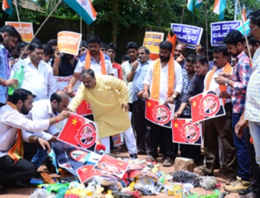 Hindu outfits protest to ban Chinese products