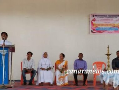 ICYM St. Joachim Church Kadaba in collaboration with ICYM St. Paul Eastern Deanery Puttur organises Blood Donation Camp