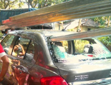 Lucky escape for couple, child after iron rods pierce through window