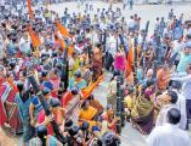 Protest against Tipu Jayanti with models of pestles