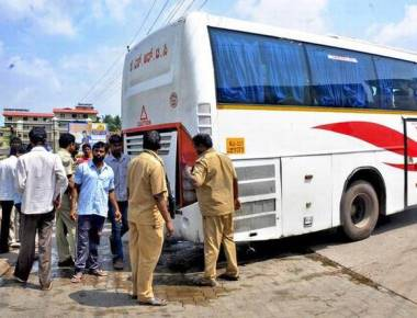 Smoke emanates from KSRTC bus in Udupi