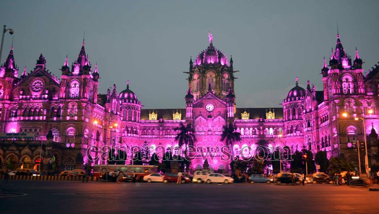 Mumbai Oct 04 Colour Lighting On Central Rly Head Quarter Building Cst In Pic By Ronida