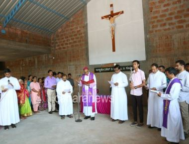 Bishop Peter Paul Saldanha blesses renovated cemetery at Sacred Heart of Jesus Church Madanthyar