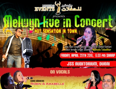 "Artists arrived for ""Melwyn Live in Concert"" in Dubai on 29th April"