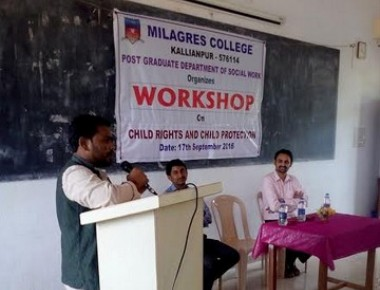 One day workshop on Child Rights and Child Protection at Milagres College, Kallianpur