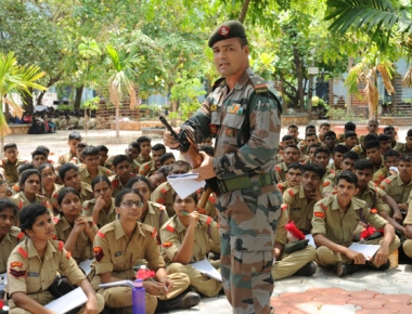 Col Nautiyal visits NCC camp at St Aloysius College