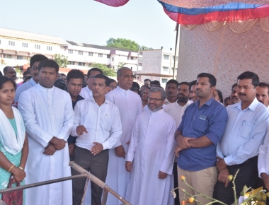 Blessing and laying of pole for mantapa