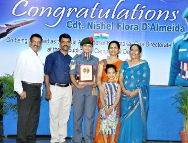 St Aloysius School felicitates NCC cadet Nishel D'almeida