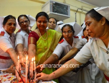 As a part of International Nurse Day, Kama Hospital nurses staff offered prayer and lit candle in the hospital premises.