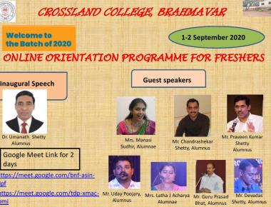 Online orientation for freshers at Crossland College
