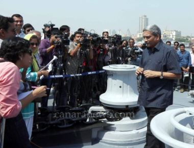 Manohar Parrikar Commissioning INS Kochi, the second ship of the indigenously designed and constructed