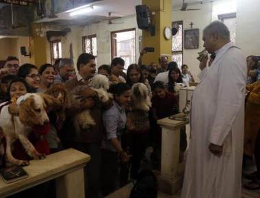 At this special church service in Mumbai, pets are the blessed