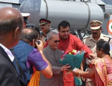 President Pranab Mukerjee arrives at Udupi
