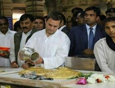 Rahul in Gujarat, visits Somnath temple, meets party leaders