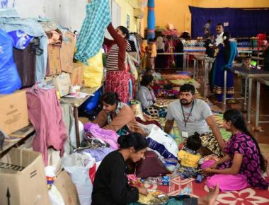 Counters at temples to collect relief material