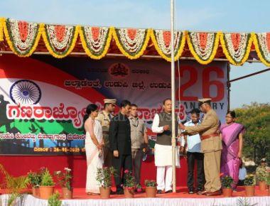 Vinay Kumar Sorake flagged off 66th Republic Day Celebrations at Udupi