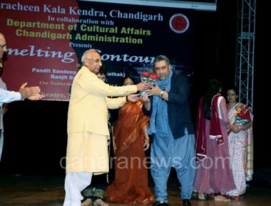 Classical dance maestro Pt. Sandeep Mahavir performs in Chandigarh with musician Ranjit Barot and felicitated by the Governor of Haryana Prof. Kaptan Singh Solanki