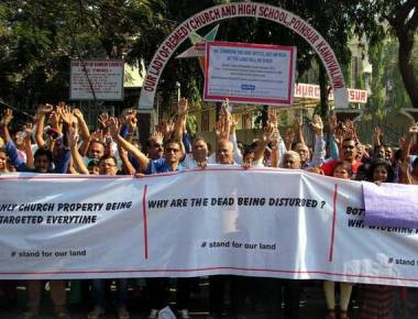 Protest to save Church land from builder
