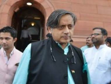 BJP activists smear black oil on Tharoor's office