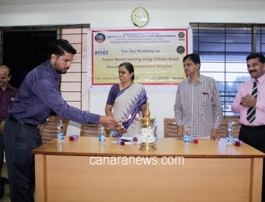 "Workshop on ""Project based Learning using Arduino Board"" held at SMVITM, Bantakal"
