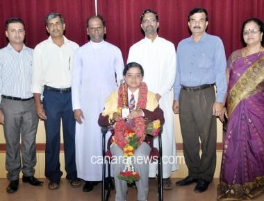 Felicitation to JUO Rachana N R at St Philomena PU College Puttur