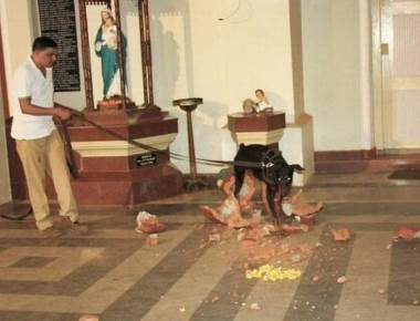 St. Anthony's statue in church portico vandalised in Udupi