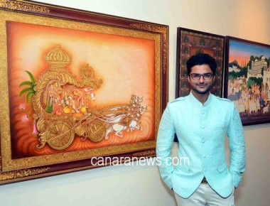 Suvigya Sharma unveiled a collection of 46 life-size distinctive Pichwai paintings made with 24 carat gold,