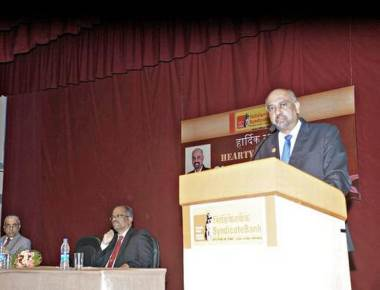 Rego visits Syndicate Bank head office in Manipal