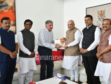 BJP Nationalist President Amit Shah today meet to Industrialist Ratan Tata in Mumbai