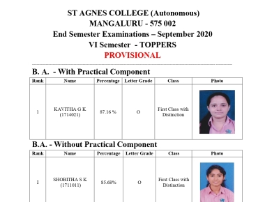 End Semester Result Announcement Information-St Agnes College autonomous