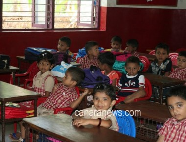 The first day of tiny tots' school at Milagres Kindergarten School, Kallianpur