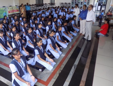 Rehearsal for Int'l Yoga day held at Vikas PU College