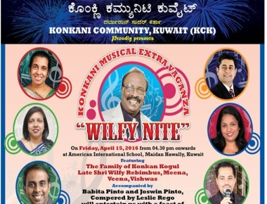 Konkani Community Kuwait to present Wilfy Nite on April 15