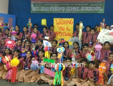Artificial Lantern exhibition at St. Xavier's high school Borivili (E) on the eve of Diwali