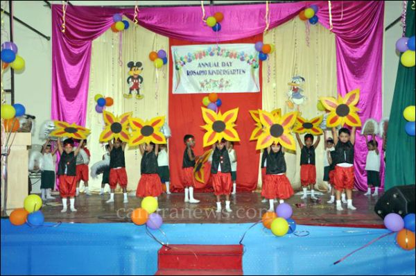 Annual day of rosario kindergarten celebrated in grand style for Annual day stage decoration images